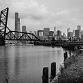 Chicago Skyline From The Southside In Black And White by Anthony Doudt