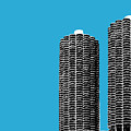 Chicago Skyline Marina Towers - Teal by DB Artist
