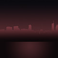 Chicago Skyline Mauve Outline by Andrea Silies