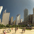 Chicago Skyline Thru The Bean by Michael Bessler