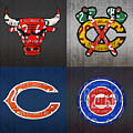Chicago Sports Fan Recycled Vintage Illinois License Plate Art Bulls Blackhawks Bears And Cubs by Design Turnpike
