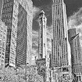 Chicago Water Tower Shopping Black And White by Christopher Arndt