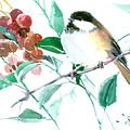 Chickadee And Berries by Suren Nersisyan
