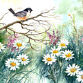 Chickadee And Daisies by Lois Mountz