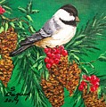 Chickadee And Pine Cones by Sharon Duguay