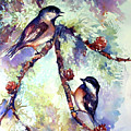 Chickadees On Twig by Peggy Wilson