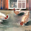 Chickens In The Barnyard by George Markiewicz