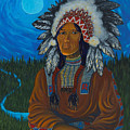 Chief Before Campfire by Arnold Isbister