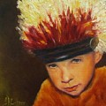 Chief Wannabee #2, Native American Indian Child   by Sandra Reeves