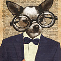 Chihuahua Hipster Dictionary Art by Anna W