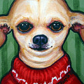 Chihuahua In Red Sweater - Boss Dog by Rebecca Korpita