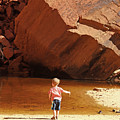 Child At Upper Emerald Pool-zion National Park by PJ Boylan