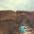 Child On Stairs On Beach by Lenore Humes