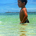 Child Playing In The Ocean by Pamela Walton