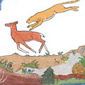 Childhood Drawing Cougar Attacking Deer by Dawn Senior-Trask
