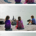 Children At The Pond Triptych by Madeline Ellis