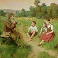 Children Listen To A Shepherd Playing A Flute by J Alsina