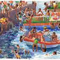 Children Playing At Avarua Wharf  by Judith Kunzle