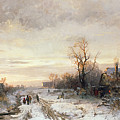 Children Playing In A Winter Landscape by August Fink