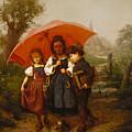 Children Under A Red Umbrella by Henry Mosler