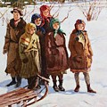 Children With A Sled Nikolai Petrovich Bogdanov-belsky by Eloisa Mannion