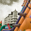 Childrens Play Areas Contrast With The Victorian Elegance Of The Grand Hotel In Llandudno Wales Uk by Mal Bray