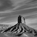 Chimney Rock Butte Sw Co Bw by Dave Gordon