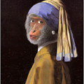 Chimp With A Pearl Earring by Gravityx9  Designs
