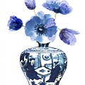 China Blue Vase  With Poppy Flower by Green Palace