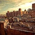 Chinatown Rooftop Graffiti And The Brooklyn Bridge - New York City by Vivienne Gucwa