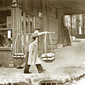 Chinese Man Carrying Produce In Baskets Balanced On Pole Over Shoulder In San Francisco  by California Views Archives Mr Pat Hathaway Archives