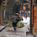 Chinese Woman Carrying Vegetables by Valentino Visentini