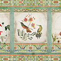 Triptych - Chinoiserie Vintage Hummingbirds N Flowers by Audrey Jeanne Roberts
