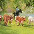 Chisholm Trail Texas Longhorn Cattle Drive Oil Painting By Kmcelwaine by Kathleen McElwaine