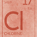 Chlorine Element Symbol Periodic Table Series 017 by Design Turnpike