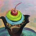 Chocolate Cupcake With Cherry by Katie Richcreek