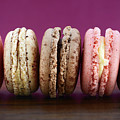 Chocolate Strawberry And Vanilla Macaroons. by Milleflore Images