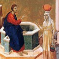 Christ And The Samaritan Woman Fragment 1311 by Duccio