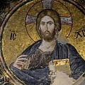 Christ Holds Bible In Mosaic At Chora Church Istanbul Turkey by Imran Ahmed
