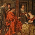Christ In The House Of Mary Martha And Lazarus by Circle of Jacob Jordaens