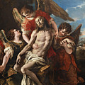 Christ Mourned By Three Angels by Sebastiano Ricci
