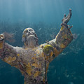 Christ Of The Abyss Statue On Dry Rocks Reef In Key Largo Florida by Bob Hahn