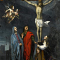 Christ On The Cross With Saint John And Mary Magdalene by Follower of Jacques Stella