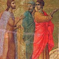 Christ On The Road To Emmaus Fragment 1311 by Duccio