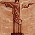 Christ The Redeemer Statue Original Coffee Painting by Georgeta Blanaru