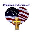 Christian And American Flag With Golden Cross by Rose Santuci-Sofranko
