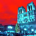 Christmas At Notre Dame Pop Art by John Rizzuto