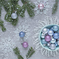 Christmas Baubles And Snowflakes by Kim Hojnacki