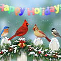 Christmas Birds And Garland by Crista Forest