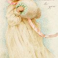 Christmas Card Depicting A Girl With A Muff by English School